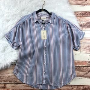 NWT universal thread stripe button down top